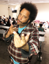 "Boots Riley poses for a picture before a screening of his film ""Sorry to Bother You"""