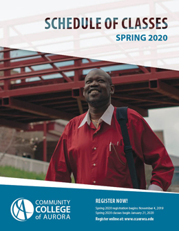 The cover for the spring 2020 schedule