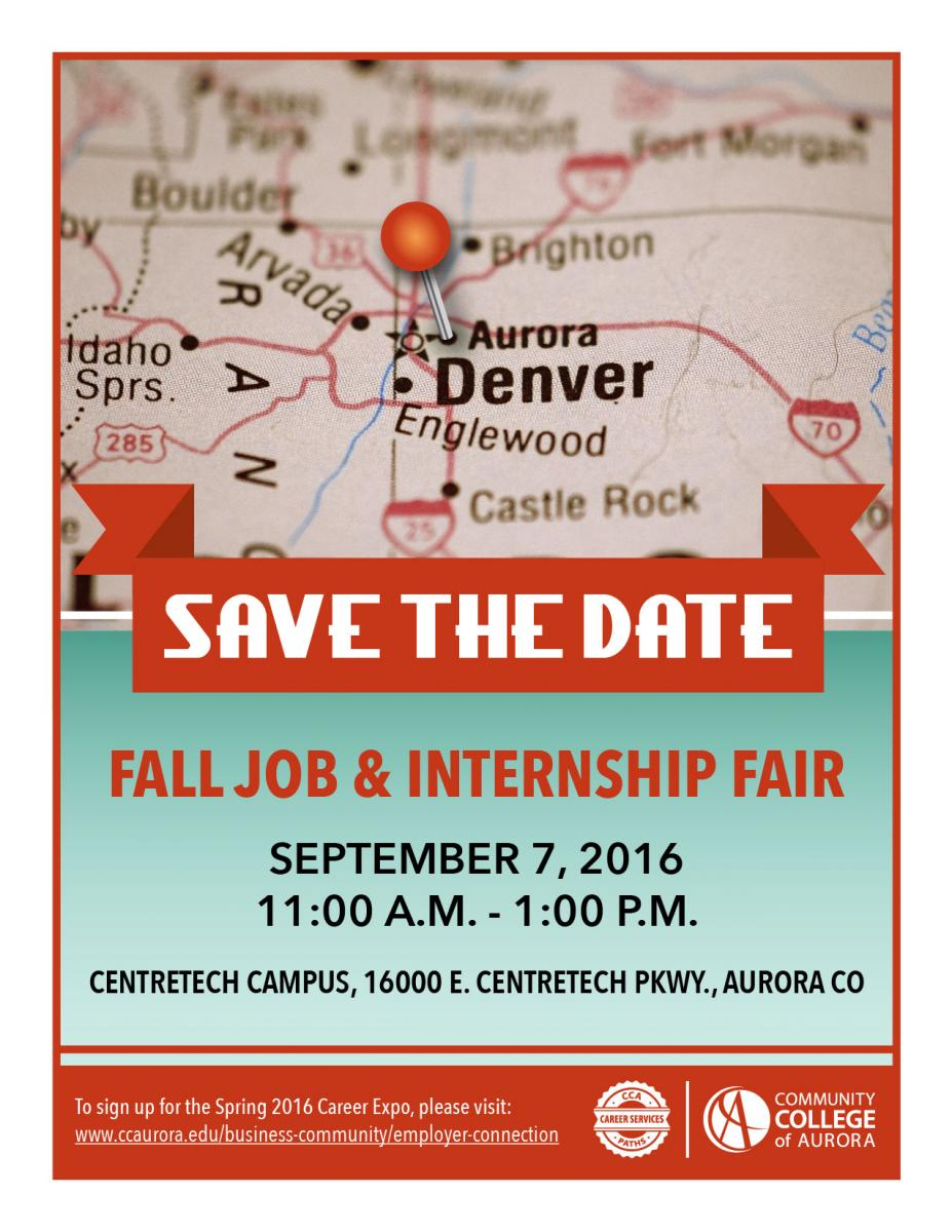 Save the Date for the Fall Job and Internship Fair- September 7