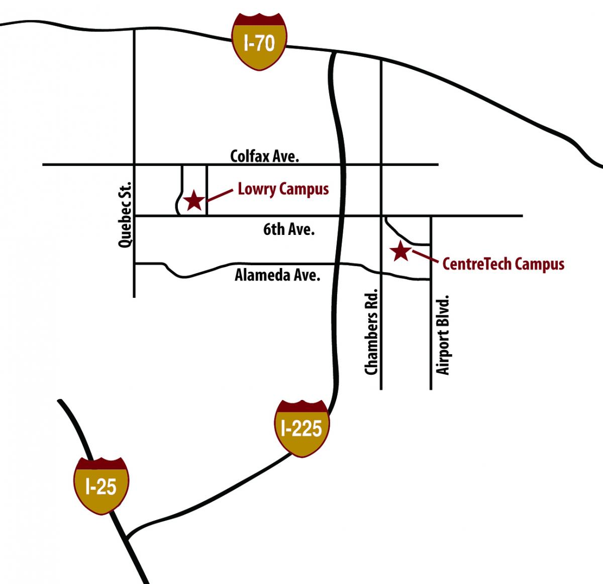Map of CCA locations in Denver and Aurora