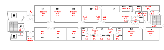 cca centretech campus classroom building first floor map