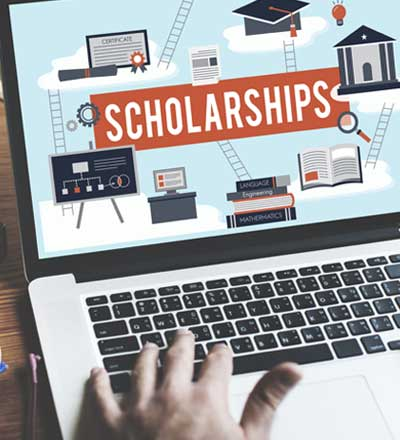 Computer screen with the word scholarships on it