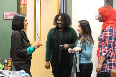 Elena Sandoval-Lucero meets with students during Spirit Week