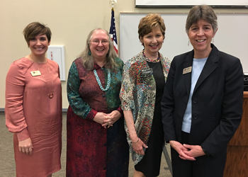 CCA Vice President of Academic Affairs Tricia Johnson, University of Colorado Associate Professor Rebecca Hunt, University of Colorado Denver Chancellor Dorothy Horrell, and CCA President Betsy Oudenhoven pose for a photo during Confluence.