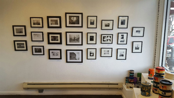 A wall of photos taken by DAVA students with pinhole cameras