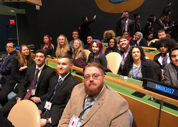 CCA's Model United Nations Team poses for a picture inside the Un General Assembly Hall