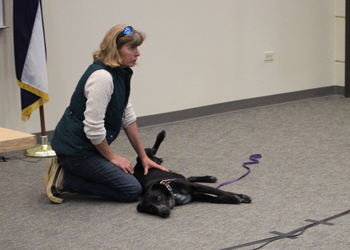 Mary Hajner provided a 15-minute demonstration on the benefits of pet massage, using her animal, Touché, as a model.