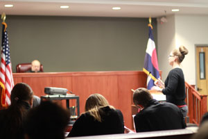 CCA Students participating in a mock trial as part of CSI: Aurora