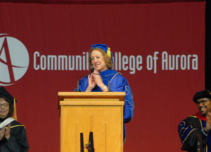 Nancy McCallin speaks at the CCA Commencement Ceremony