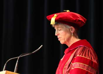 CCA President Betsy Oudenhoven speaking during commencement