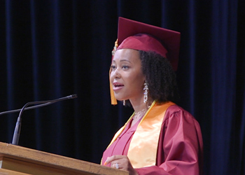 Student speaker Christina Hughes speaks to the CCA commencement class