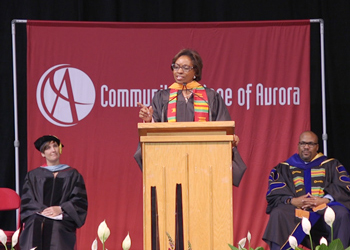 Rhonda Fields speaks to the CCA commencement class