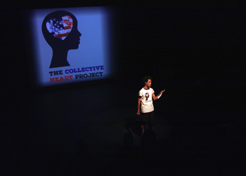 "Student Colton Lee presents during ""The Collective Heart Project"""