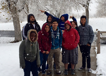 Communications class celebrates snowfall