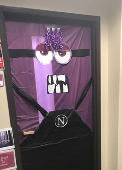 A door with a cartoon Minion created on it in Concurrent Enrollment