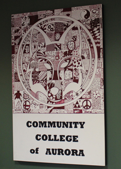 Completed Red Fox collage on display in the Admissions, Registration, and Records office