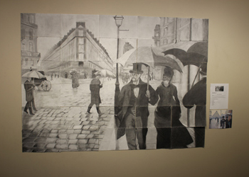 "CCA students' drawing recreation of Gustave Caillebotte work ""Paris Street, Rainy Day"""