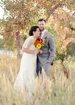 Kathryn Sturtevant and her husband Eric James on their wedding day in Littleton, CO.