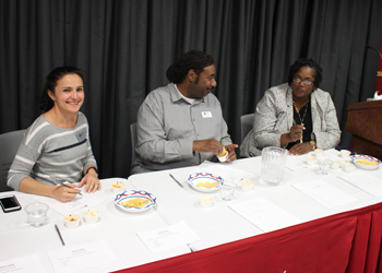 English faculty member Cynthia Villegas, H. Ray Keith, director of Instructional Intervention and Support, and Tamara White, dean of Students, served as judges during the Salsa Y Salsa competition