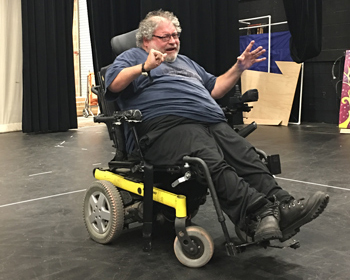 "Phamaly actor Don Gabenski rehearses his lines for ""Vox: Under Construction"" on Sept. 21 in the Larry D. Carter Theater on the CentreTech campus."