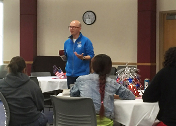 Bobby Pace, chair of the Social Sciences Department, speaks to a group of students during the Citizenship Bowl
