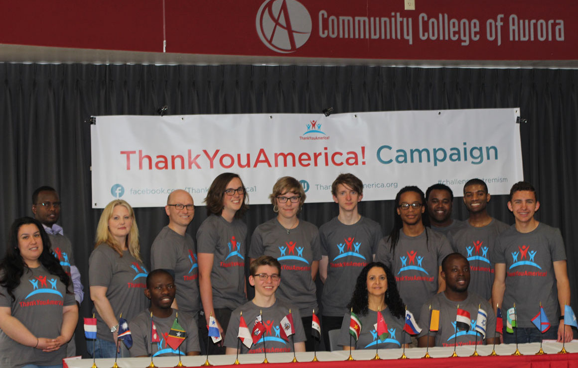 ThankYouAmerica! staff and students pose at the kickoff event