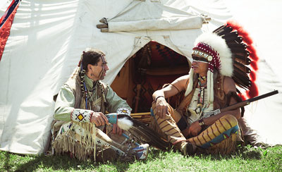 North American Indians sitting down