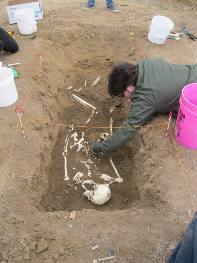 Students uncover a skeleton as part of the CSI: Aurora project in spring 2016