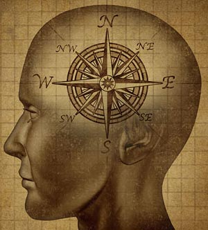 A graphic of a human head with a compass symbol etched on the side of the head