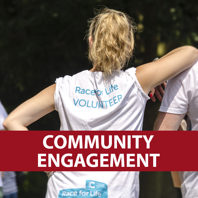 Community engagement with a male and female volunteer