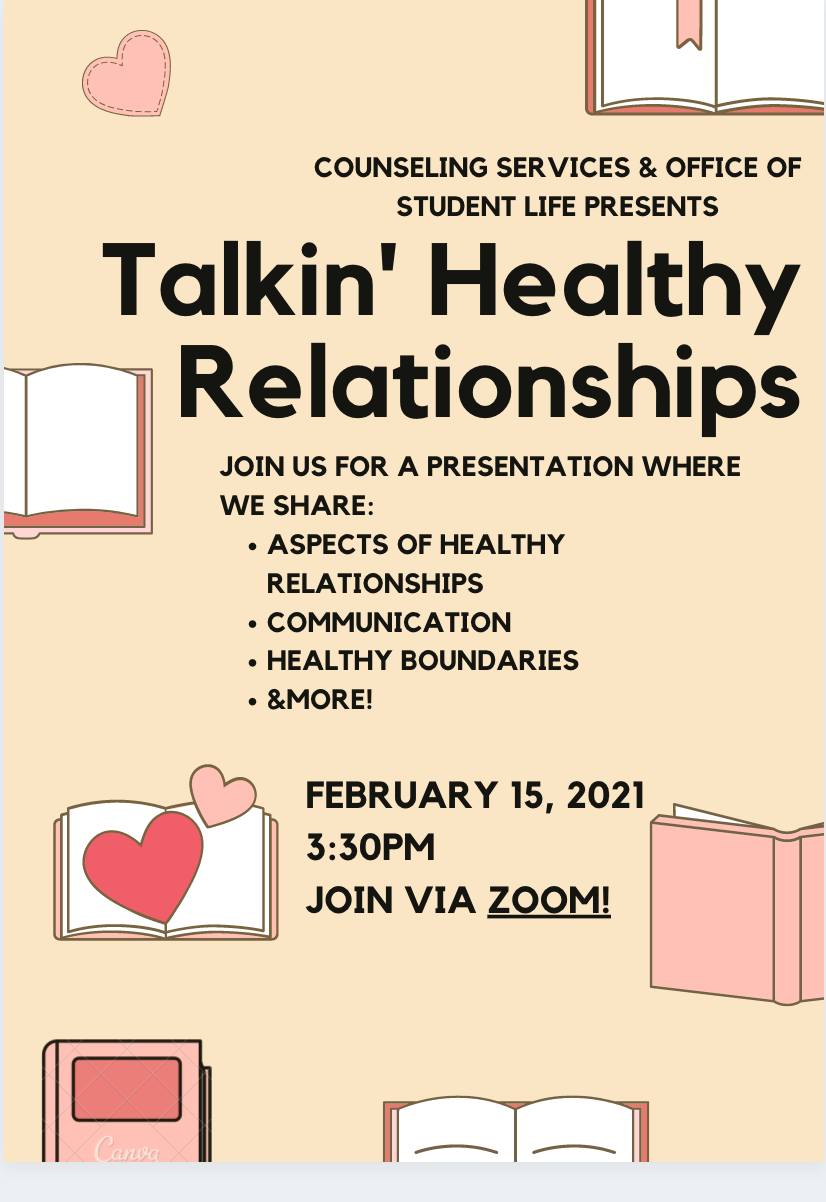 "flyer with books and hearts. Title ""Talking Healthy Relationships"""