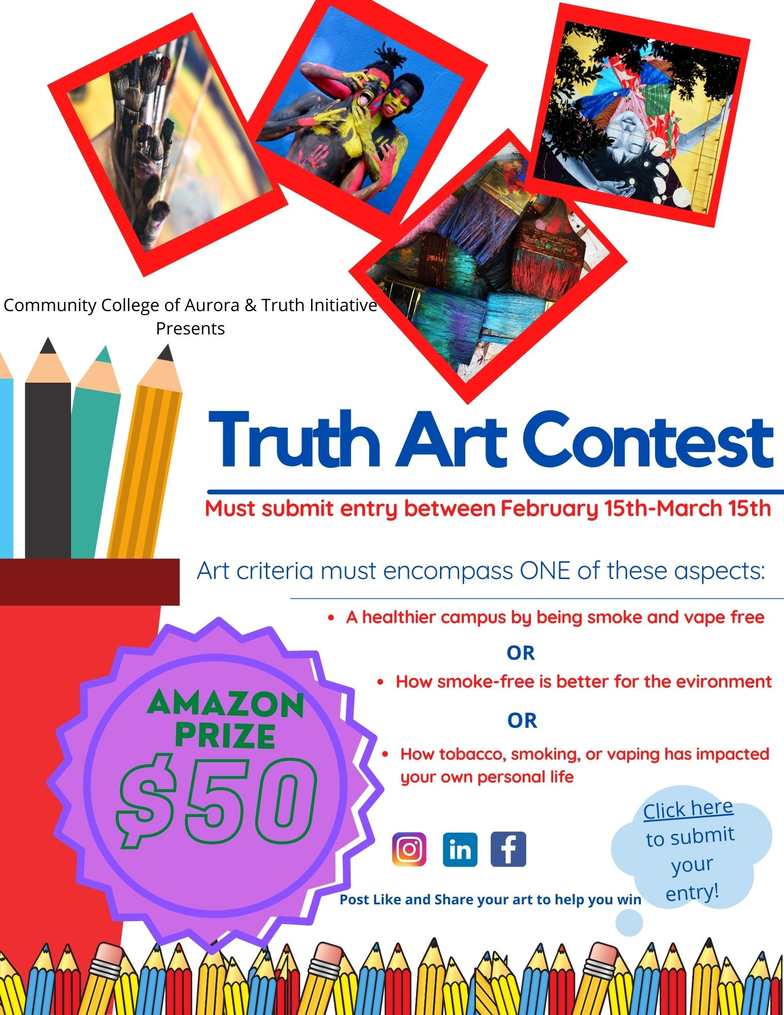 "Flyer with art pieces, title ""Truth Art Contest"""