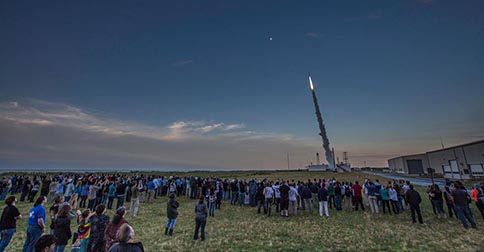 A rocket flies from Wallops Flight Facility in Virginia on June 24