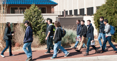 Students on a campus tour at University of Denver