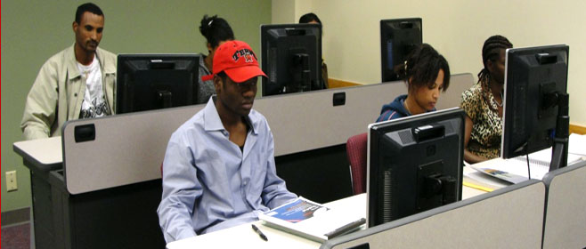 ESL students in the computer lab at the Aurora Language Center, Denver Colorado