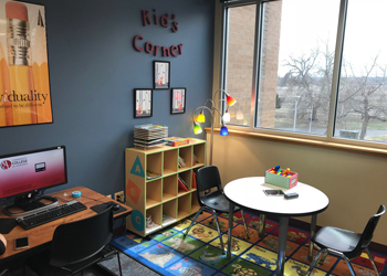 The Kids Corner in the Library was set up with games and books