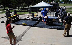 A tent is set up to service people during the Mass Casualty Exercise.