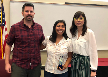 Michael Roderique, Training Coordinator for Inclusive Excellence; Racheal Aragon, English Faculty; and Dr. Tanya Cook, Sociology Faculty. Aragon received the Inclusive Excellence Faculty Award.