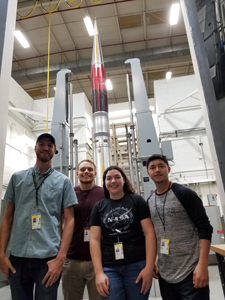CCA Students Ryan Wade, Bruce Bell, Ruby Martinez-Gomez, and Henry Reyes at the NASA facility in Wallops