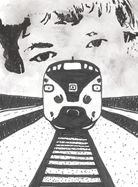 Artwork of train coming towards view with a eyes behind the train